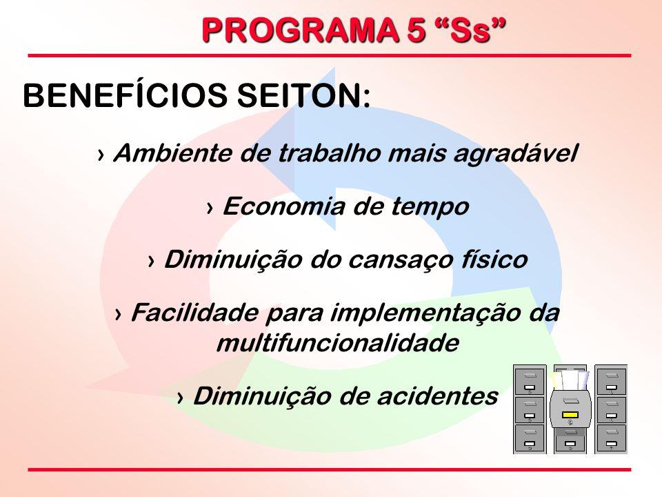 """PROGRAMA 5 """"Ss"""" BENEFÍCIOS SEITON: › › Ambiente de trabalho mais agradável › › Economia de tempo › › Diminuição do cansaço físico › › Facilidade para"""
