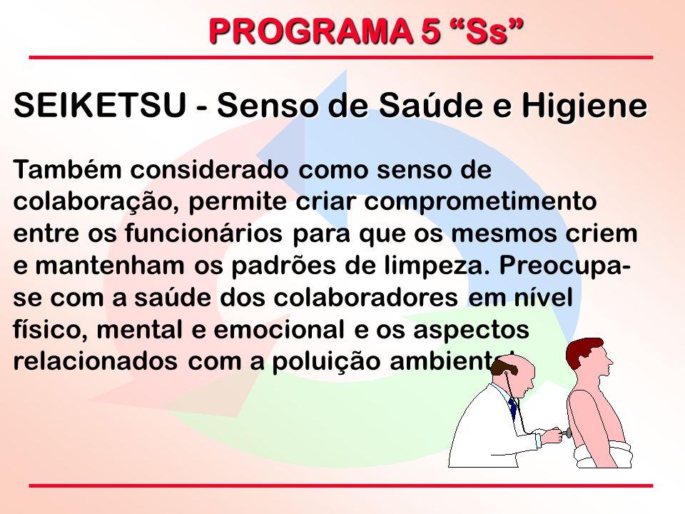 """PROGRAMA 5 """"Ss"""" SEIKETSU - Senso de Saúde e Higiene Também considerado como senso de colaboração, permite criar comprometimento entre os funcionários"""