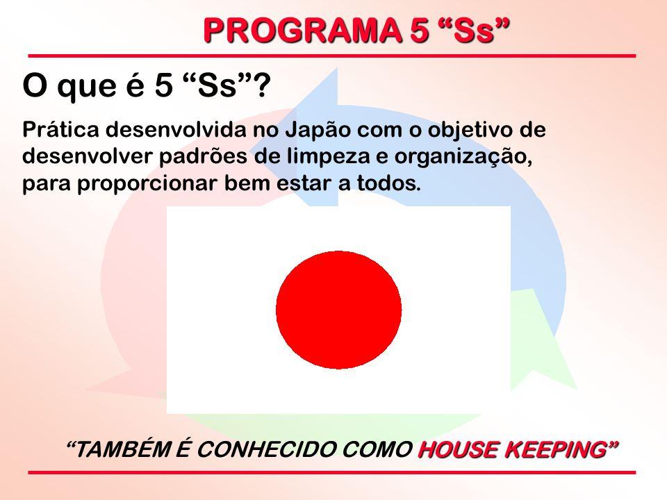 """PROGRAMA 5 """"Ss"""" O que é 5 """"Ss""""? Prática desenvolvida no Japão com o objetivo de desenvolver padrões de limpeza e organização, para proporcionar bem es"""