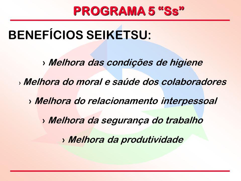 """PROGRAMA 5 """"Ss"""" BENEFÍCIOS SEIKETSU: › › Melhora das condições de higiene › › Melhora do moral e saúde dos colaboradores › › Melhora do relacionamento"""