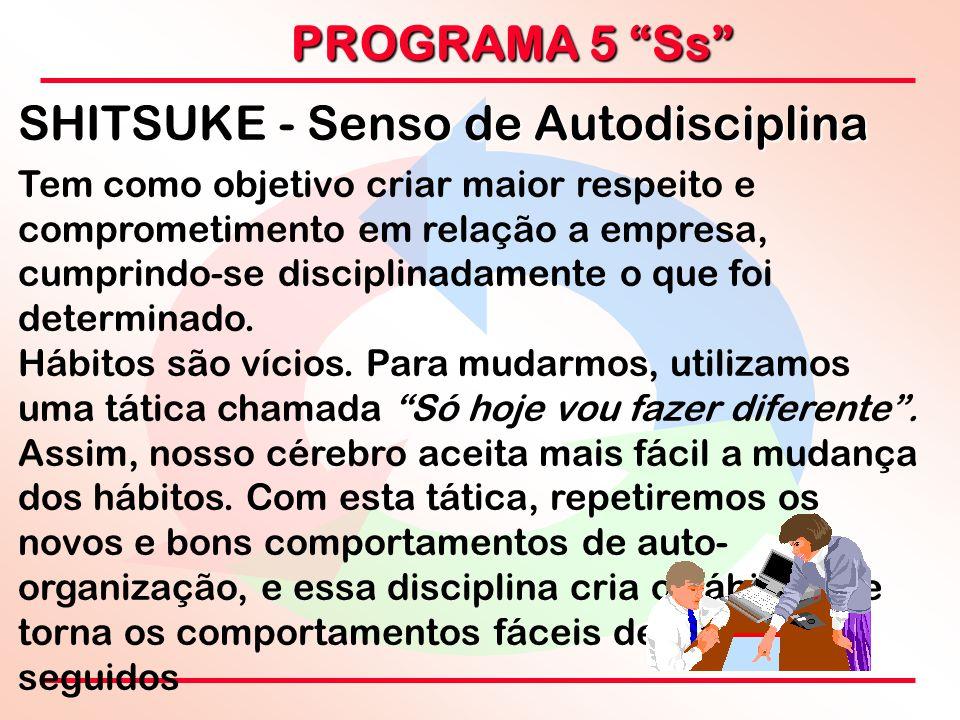 """PROGRAMA 5 """"Ss"""" SHITSUKE - Senso de Autodisciplina Tem como objetivo criar maior respeito e comprometimento em relação a empresa, cumprindo-se discipl"""