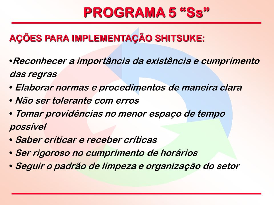 """PROGRAMA 5 """"Ss"""" AÇÕES PARA IMPLEMENTAÇÃO SHITSUKE: Reconhecer a importância da existência e cumprimento das regras Elaborar normas e procedimentos de"""