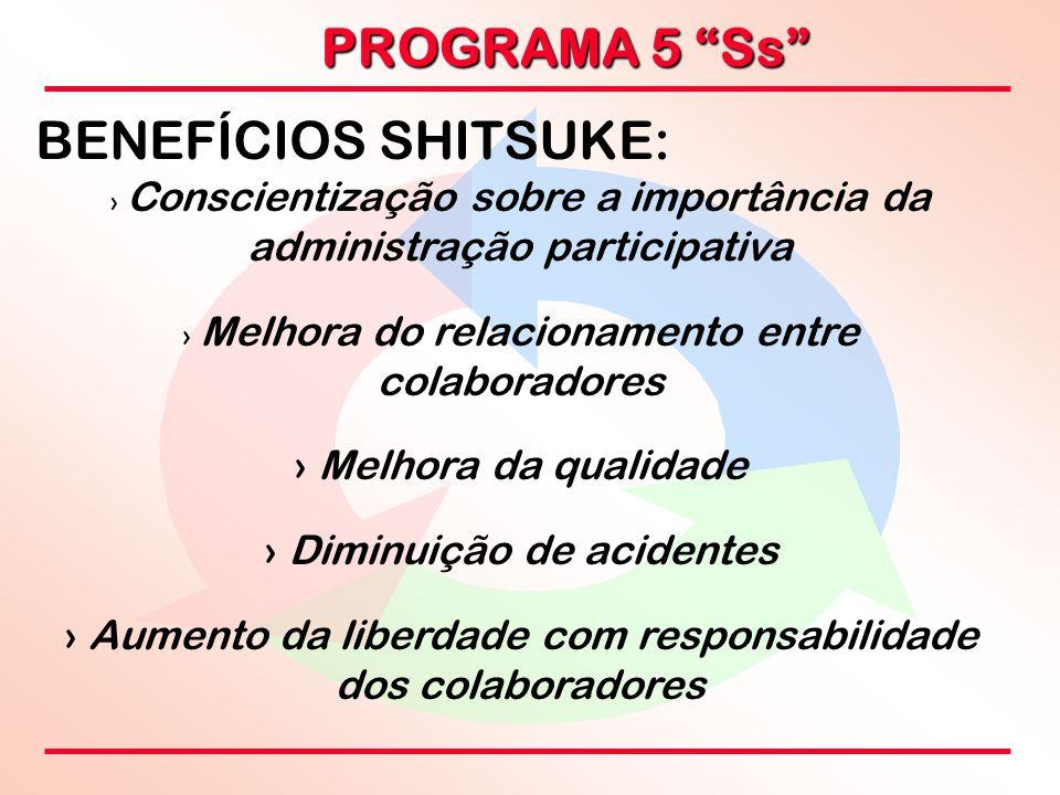 """PROGRAMA 5 """"Ss"""" BENEFÍCIOS SHITSUKE: › › Conscientização sobre a importância da administração participativa › › Melhora do relacionamento entre colabo"""