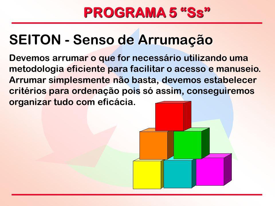 """PROGRAMA 5 """"Ss"""" SEITON - Senso de Arrumação Devemos arrumar o que for necessário utilizando uma metodologia eficiente para facilitar o acesso e manuse"""