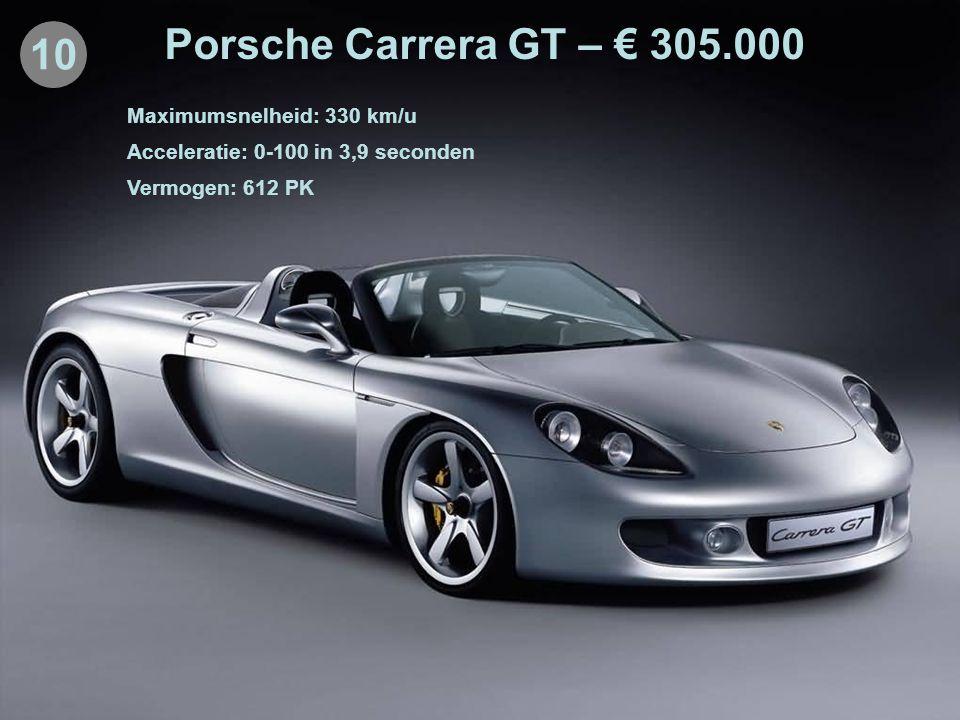 10 Porsche Carrera GT – € 305.000 Maximumsnelheid: 330 km/u Acceleratie: 0-100 in 3,9 seconden Vermogen: 612 PK
