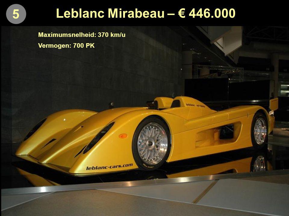5 Leblanc Mirabeau – € 446.000 Maximumsnelheid: 370 km/u Vermogen: 700 PK