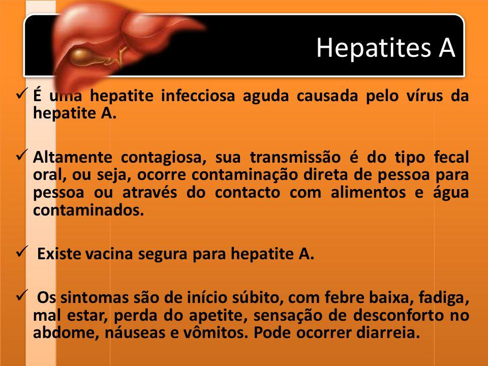 Sintomas (Hepatite A)  Quando apresenta sintomas: Febre; Pele e olhos amarelados; Náuseas e vômitos; Mau-estar; Desconforto abdominal; Falta de apetite; Urina escura (como coca-cola); Fezes esbranquiçadas.