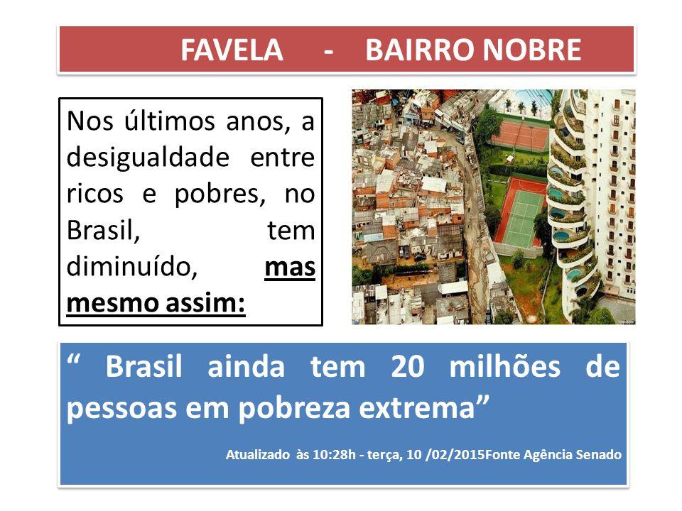 """Nos últimos anos, a desigualdade entre ricos e pobres, no Brasil, tem diminuído, mas mesmo assim: FAVELA - BAIRRO NOBRE """" Brasil ainda tem 20 milhões"""