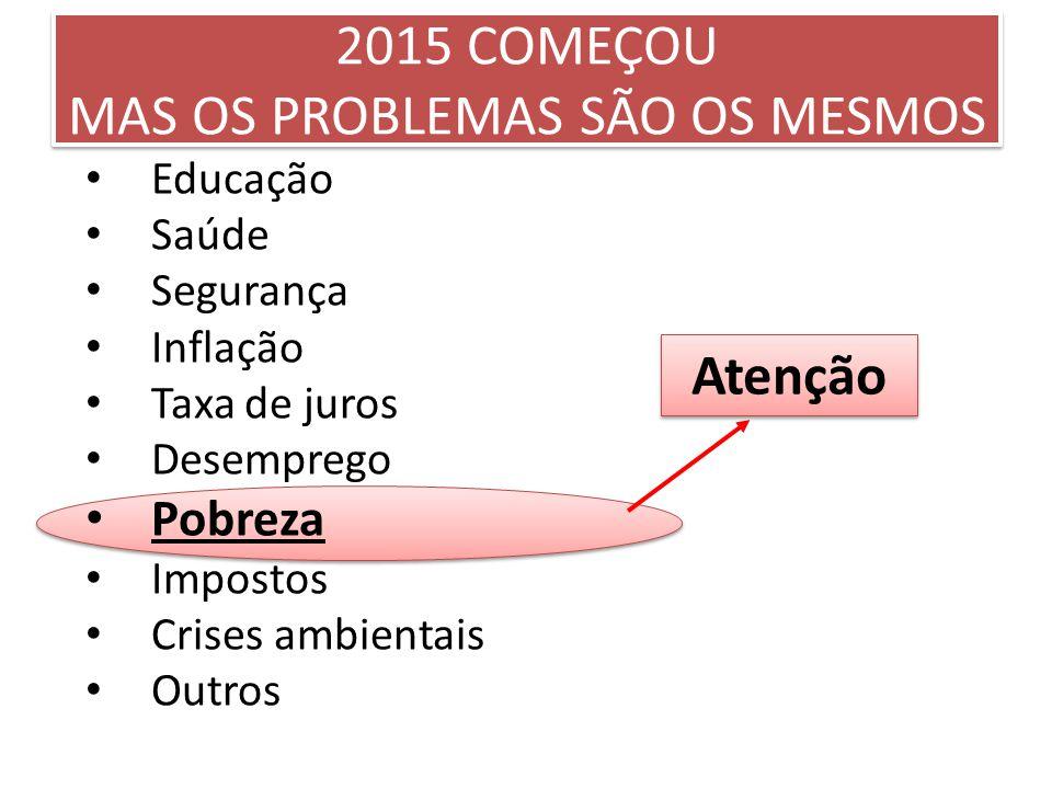 2015 COMEÇOU MAS OS PROBLEMAS SÃO OS MESMOS Educação Saúde Segurança Inflação Taxa de juros Desemprego Pobreza Impostos Crises ambientais Outros Atenç