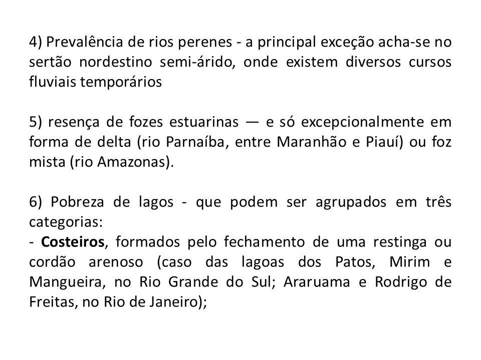 4) Prevalência de rios perenes - a principal exceção acha-se no sertão nordestino semi-árido, onde existem diversos cursos fluviais temporários 5) resença de fozes estuarinas — e só excepcionalmente em forma de delta (rio Parnaíba, entre Maranhão e Piauí) ou foz mista (rio Amazonas).