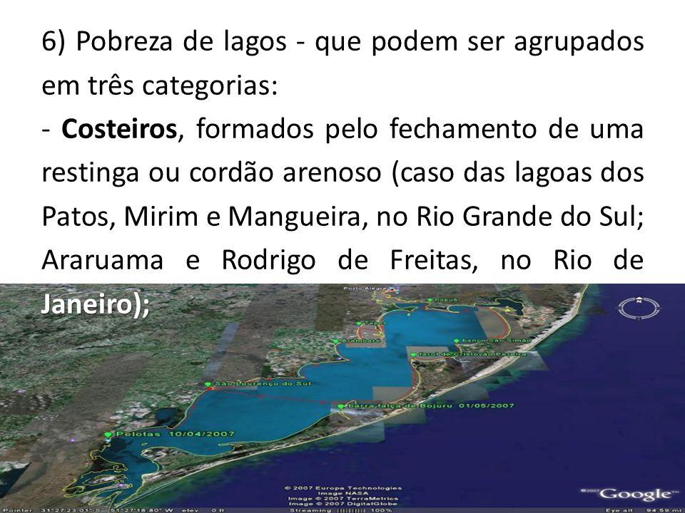 6) Pobreza de lagos - que podem ser agrupados em três categorias: Janeiro); - Costeiros, formados pelo fechamento de uma restinga ou cordão arenoso (caso das lagoas dos Patos, Mirim e Mangueira, no Rio Grande do Sul; Araruama e Rodrigo de Freitas, no Rio de Janeiro);