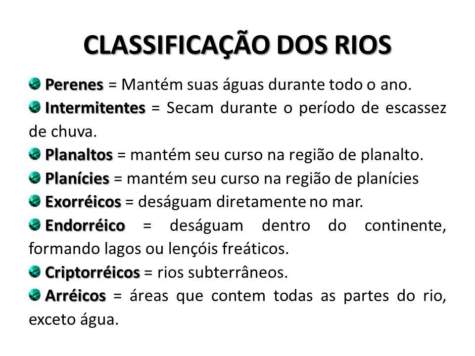 CLASSIFICAÇÃO DOS RIOS Perenes Perenes = Mantém suas águas durante todo o ano.