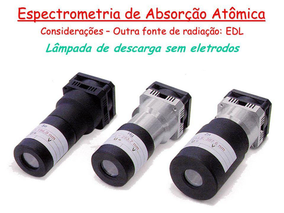Lâmpada de descarga sem eletrodos Considerações – Outra fonte de radiação: EDL Espectrometria de Absorção Atômica