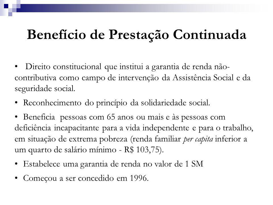 Benefício de Prestação Continuada Direito constitucional que institui a garantia de renda não- contributiva como campo de intervenção da Assistência S