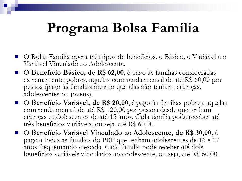 Programa Bolsa Família O Bolsa Família opera três tipos de benefícios: o Básico, o Variável e o Variável Vinculado ao Adolescente. O Benefício Básico,