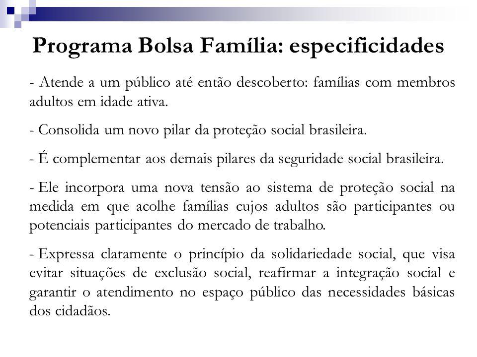 Programa Bolsa Família: especificidades - Atende a um público até então descoberto: famílias com membros adultos em idade ativa. - Consolida um novo p