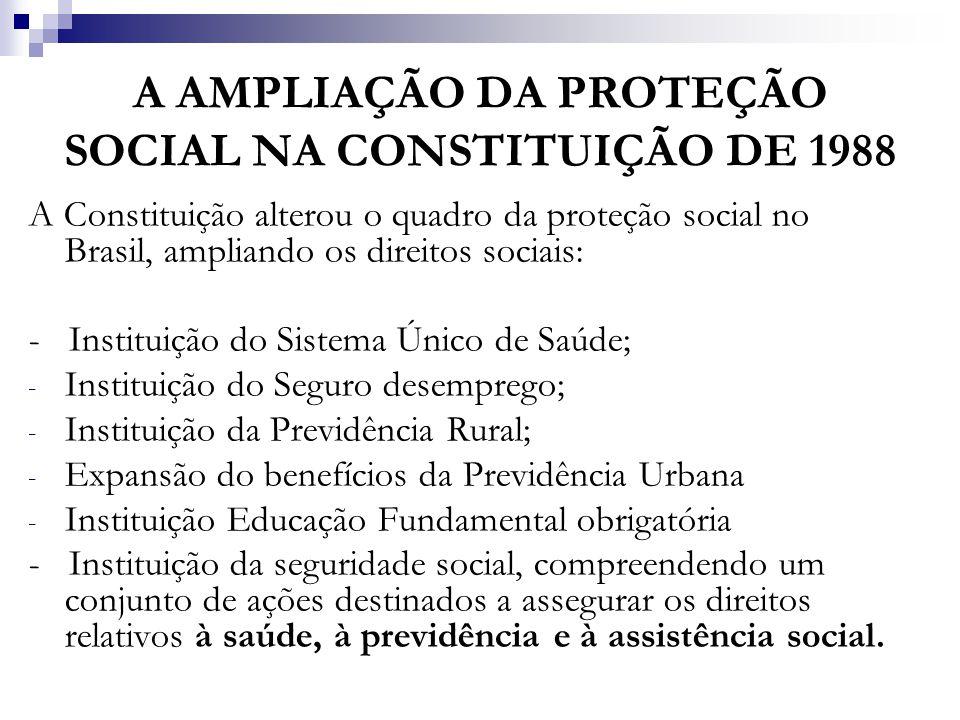 A AMPLIAÇÃO DA PROTEÇÃO SOCIAL NA CONSTITUIÇÃO DE 1988 A Constituição alterou o quadro da proteção social no Brasil, ampliando os direitos sociais: -