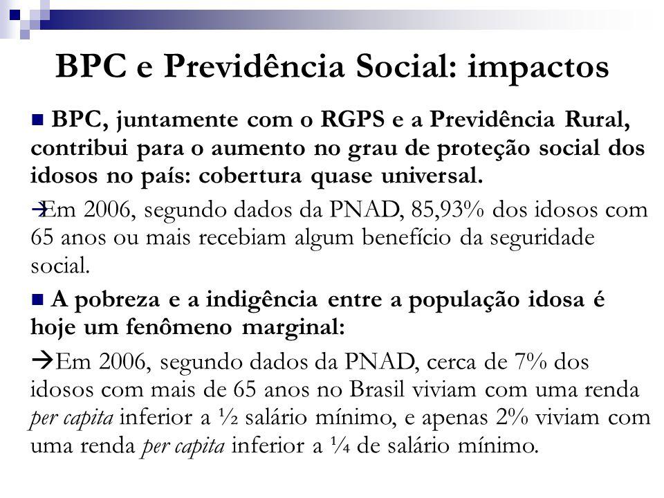 BPC e Previdência Social: impactos BPC, juntamente com o RGPS e a Previdência Rural, contribui para o aumento no grau de proteção social dos idosos no