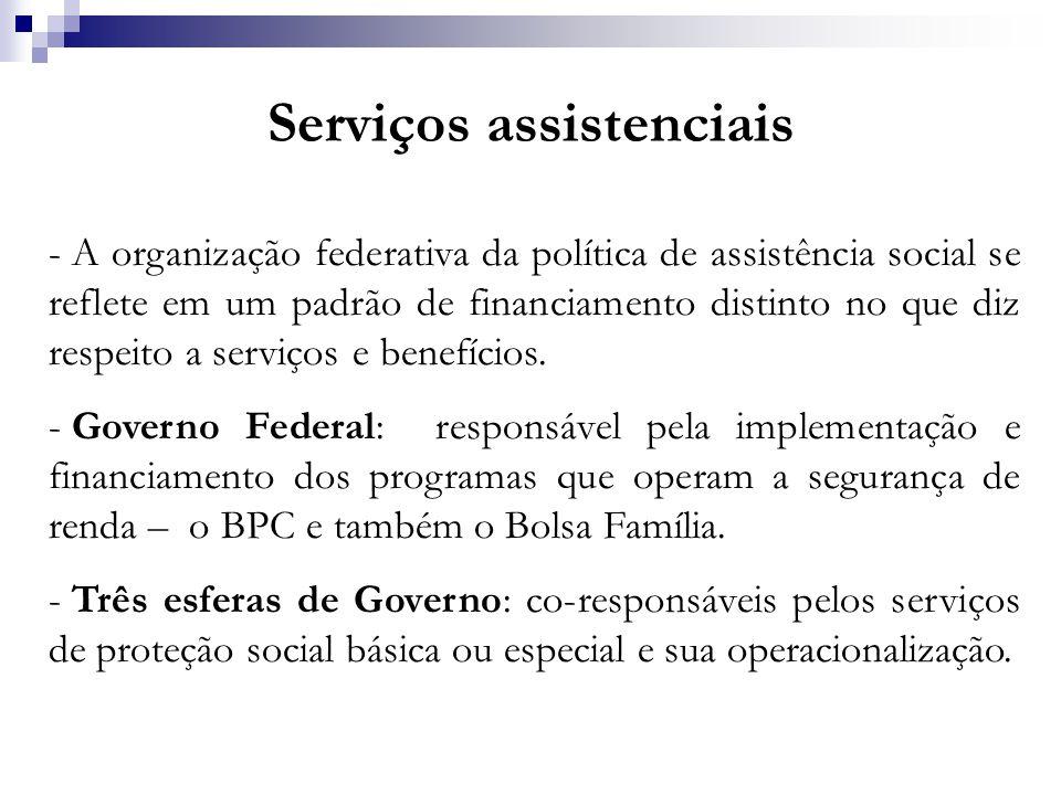 Serviços assistenciais - A organização federativa da política de assistência social se reflete em um padrão de financiamento distinto no que diz respe
