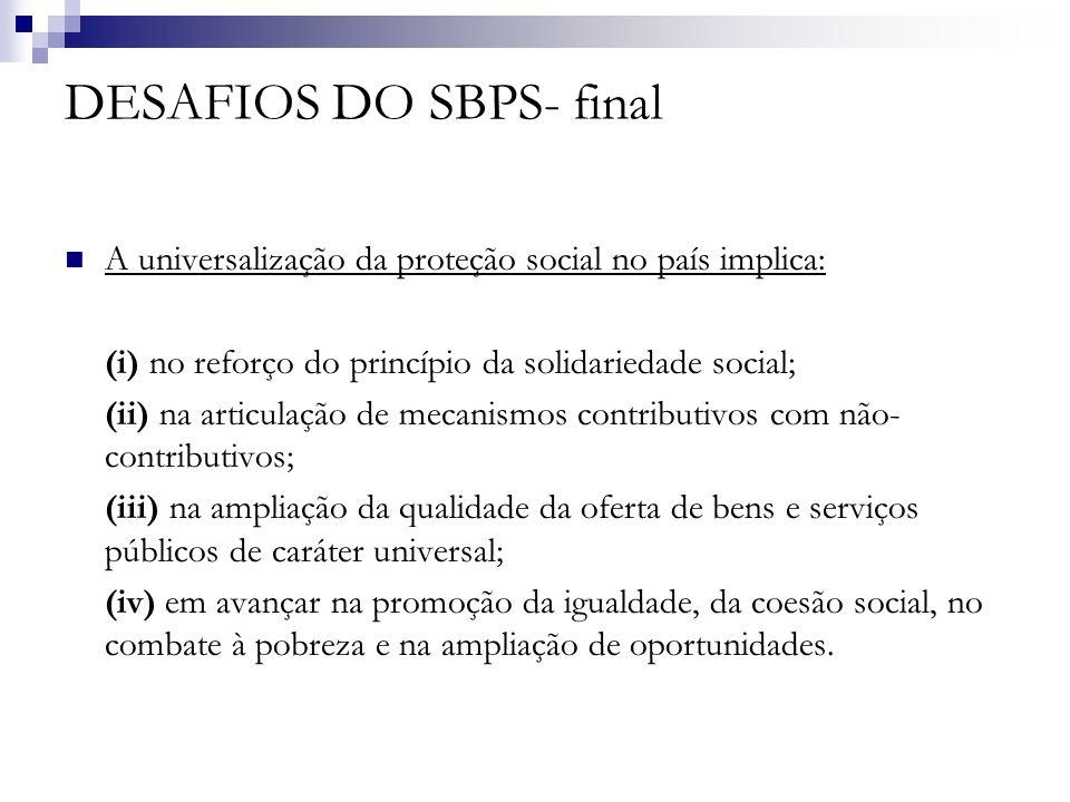 DESAFIOS DO SBPS- final A universalização da proteção social no país implica: (i) no reforço do princípio da solidariedade social; (ii) na articulação