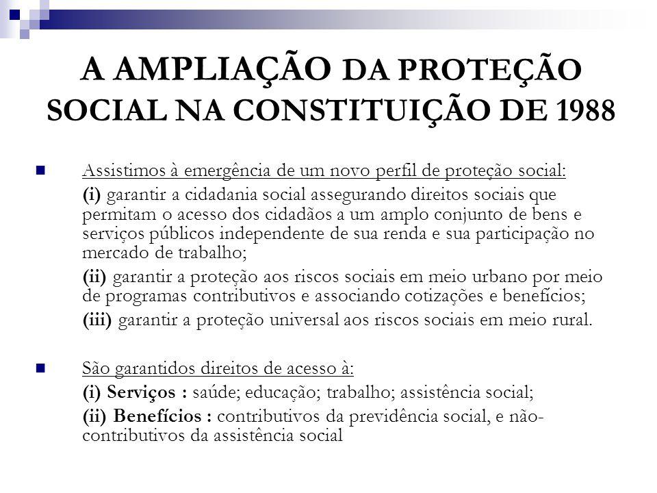 A AMPLIAÇÃO DA PROTEÇÃO SOCIAL NA CONSTITUIÇÃO DE 1988 Assistimos à emergência de um novo perfil de proteção social: (i) garantir a cidadania social a