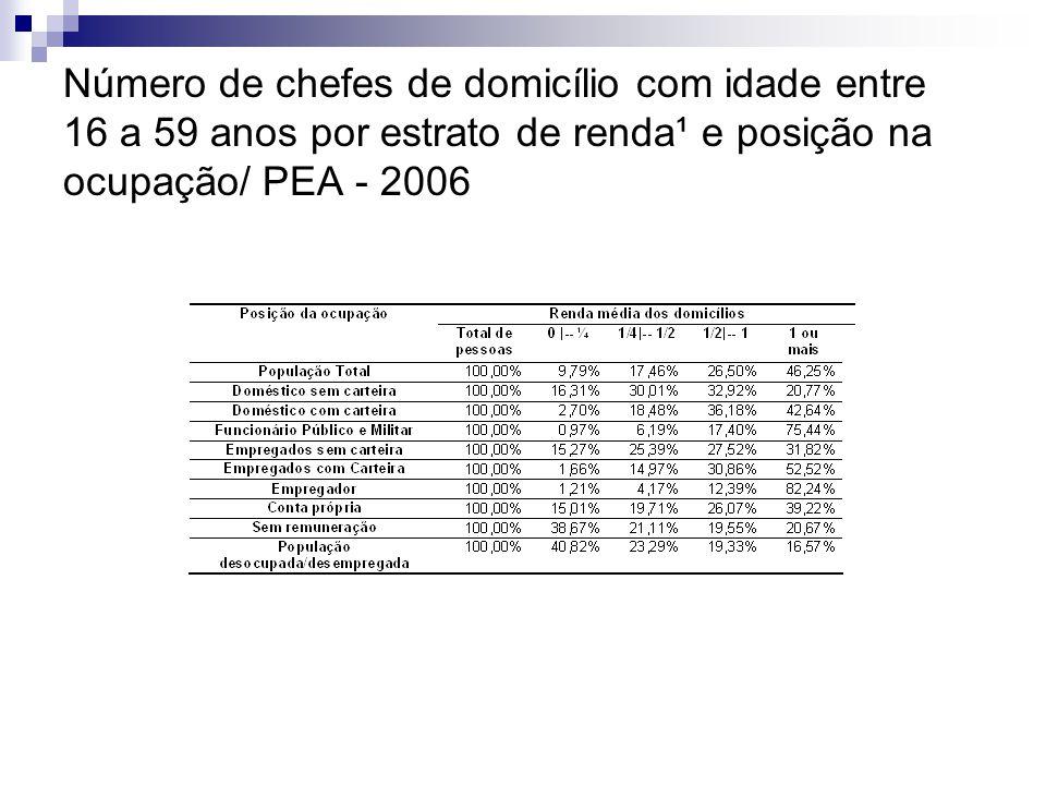 Número de chefes de domicílio com idade entre 16 a 59 anos por estrato de renda¹ e posição na ocupação/ PEA - 2006
