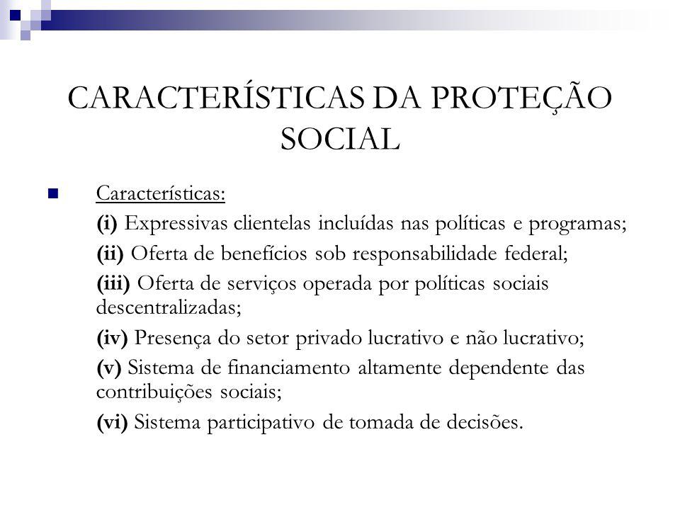 CARACTERÍSTICAS DA PROTEÇÃO SOCIAL Características: (i) Expressivas clientelas incluídas nas políticas e programas; (ii) Oferta de benefícios sob resp