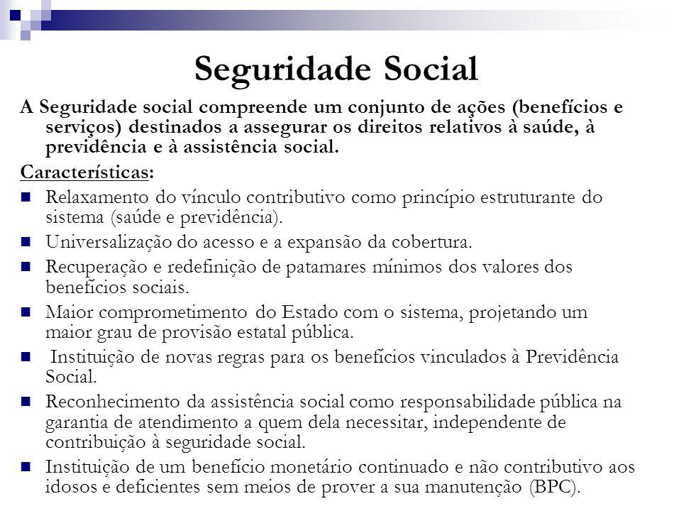 Seguridade Social A Seguridade social compreende um conjunto de ações (benefícios e serviços) destinados a assegurar os direitos relativos à saúde, à
