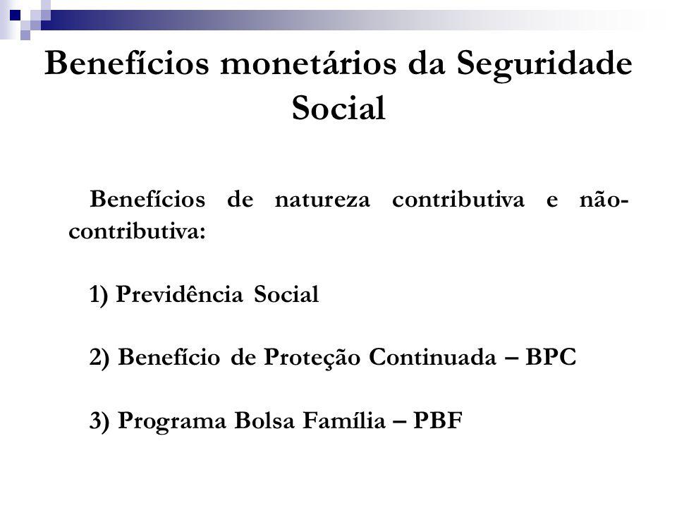 Benefícios monetários da Seguridade Social Benefícios de natureza contributiva e não- contributiva: 1) Previdência Social 2) Benefício de Proteção Con