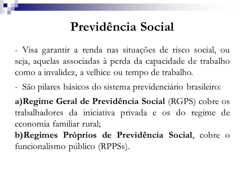 Previdência Social -Visa garantir a renda nas situações de risco social, ou seja, aquelas associadas à perda da capacidade de trabalho como a invalide