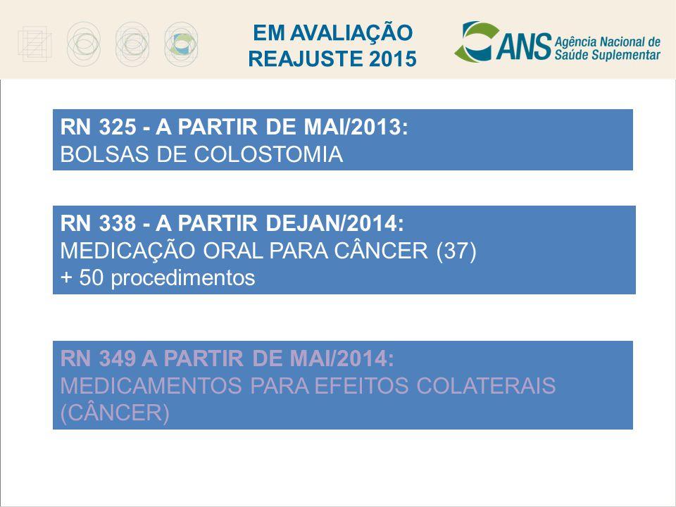 EM AVALIAÇÃO REAJUSTE 2015 RN 325 - A PARTIR DE MAI/2013: BOLSAS DE COLOSTOMIA RN 338 - A PARTIR DEJAN/2014: MEDICAÇÃO ORAL PARA CÂNCER (37) + 50 proc