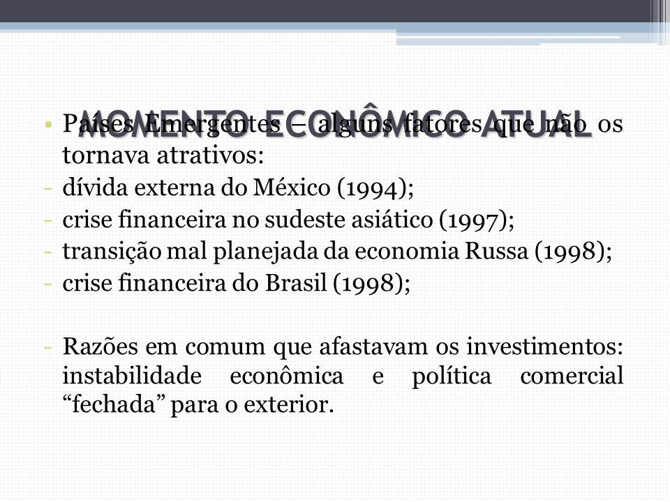 MOMENTO ECONÔMICO ATUAL Países Emergentes – alguns fatores que não os tornava atrativos: -dívida externa do México (1994); -crise financeira no sudest
