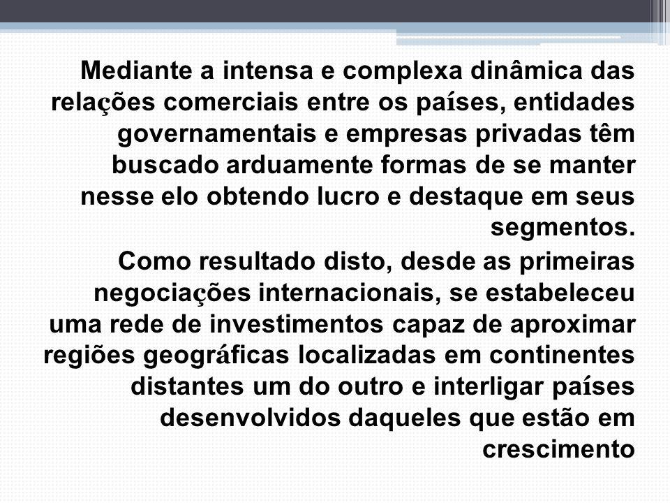 Mediante a intensa e complexa dinâmica das rela ç ões comerciais entre os pa í ses, entidades governamentais e empresas privadas têm buscado arduament