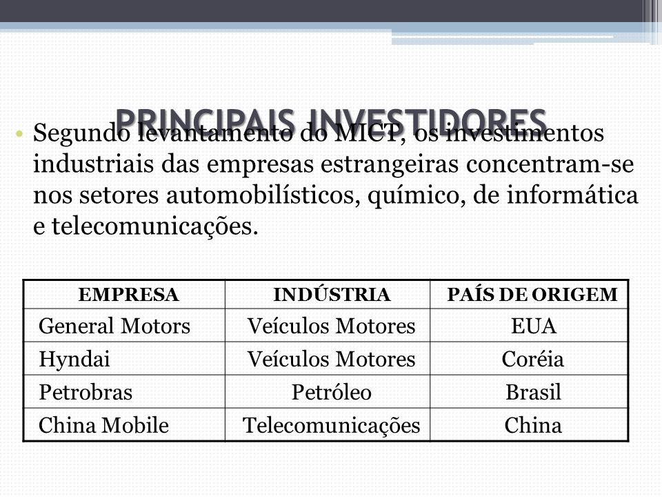 PRINCIPAIS INVESTIDORES Segundo levantamento do MICT, os investimentos industriais das empresas estrangeiras concentram-se nos setores automobilístico