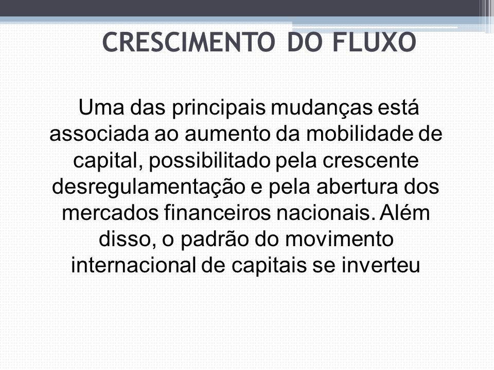 Assim, os fatores que determinam os investimentos estrangeiros na economia global são a integração verticalizada dos processos produtivos, o avanço da integração econômica e regional, a desregulamentação dos mercados financeiros,além de uma taxa positiva sobre o retorno dos investimentos CRESCIMENTO DO FLUXO