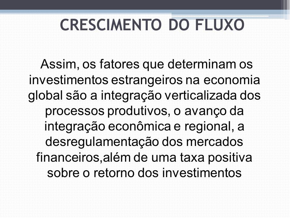 Assim, os fatores que determinam os investimentos estrangeiros na economia global são a integração verticalizada dos processos produtivos, o avanço da