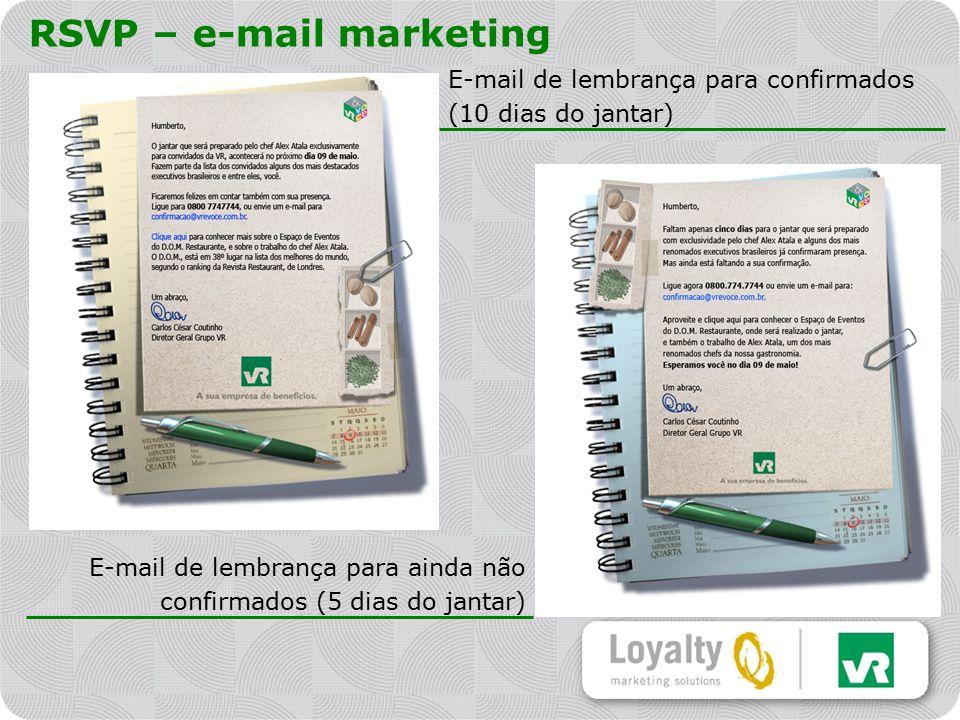 RSVP – e-mail marketing E-mail de lembrança para confirmados (10 dias do jantar) E-mail de lembrança para ainda não confirmados (5 dias do jantar)