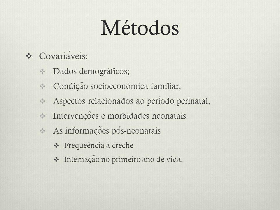  Covariaveis:  Dados demográficos;  Condic ̧ a ̃ o socioeconômica familiar;  Aspectos relacionados ao periodo perinatal,  Intervenc ̧ o ̃ es e morbidades neonatais.