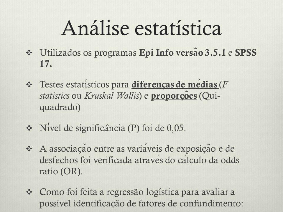 Análise estatística  Utilizados os programas Epi Info versa ̃ o 3.5.1 e SPSS 17.
