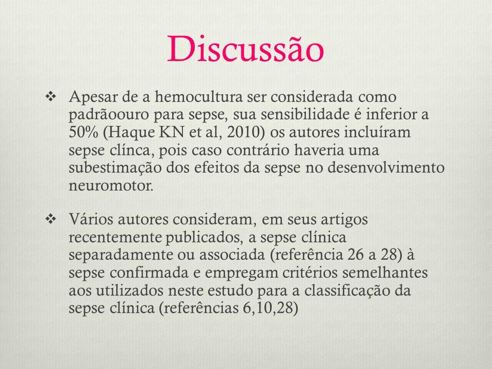  Apesar de a hemocultura ser considerada como padrãoouro para sepse, sua sensibilidade é inferior a 50% (Haque KN et al, 2010) os autores incluíram sepse clínca, pois caso contrário haveria uma subestimação dos efeitos da sepse no desenvolvimento neuromotor.
