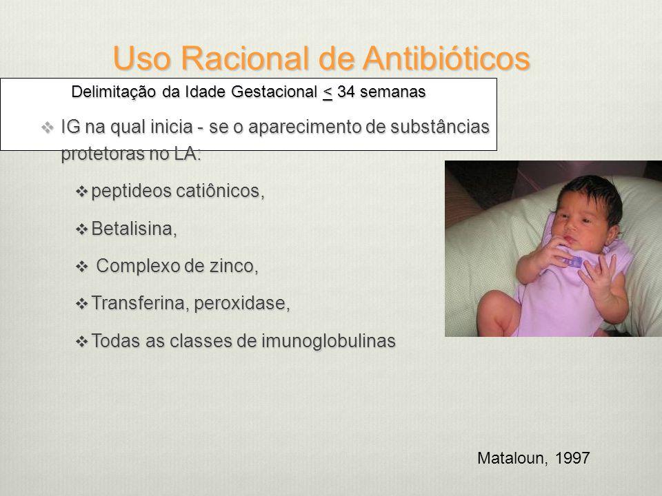 Uso Racional de Antibióticos Delimitação da Idade Gestacional < 34 semanas  IG na qual inicia - se o aparecimento de substâncias protetoras no LA:  peptideos catiônicos,  Betalisina,  Complexo de zinco,  Transferina, peroxidase,  Todas as classes de imunoglobulinas Mataloun, 1997