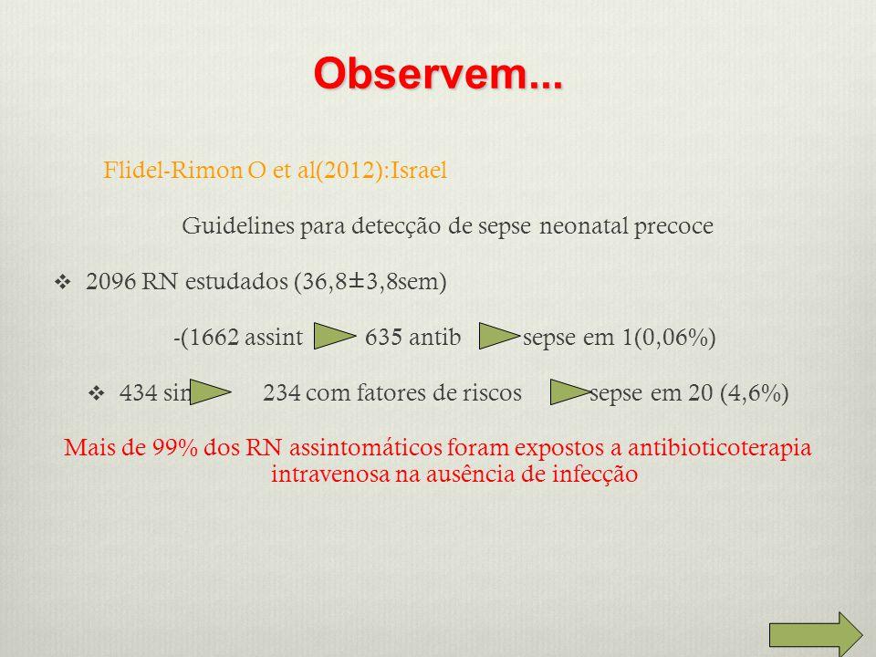Flidel-Rimon O et al(2012):Israel Guidelines para detecção de sepse neonatal precoce  2096 RN estudados (36,8±3,8sem) -(1662 assint 635 antib sepse em 1(0,06%)  434 sint 234 com fatores de riscos sepse em 20 (4,6%) Mais de 99% dos RN assintomáticos foram expostos a antibioticoterapia intravenosa na ausência de infecção Observem...