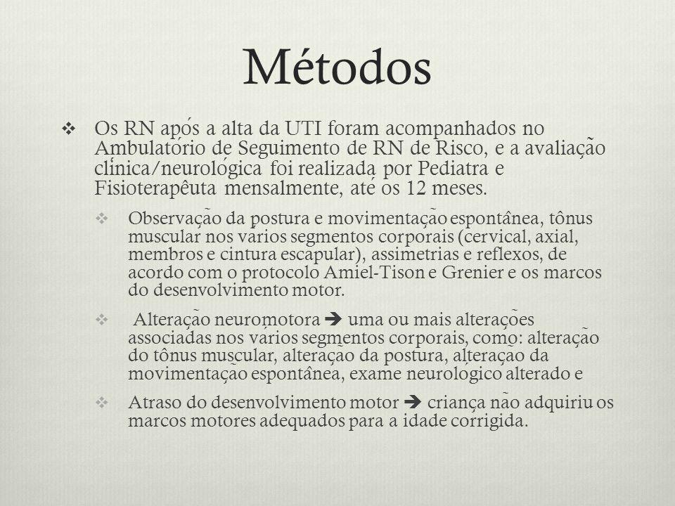 Métodos  Os RN apos a alta da UTI foram acompanhados no Ambulatorio de Seguimento de RN de Risco, e a avaliac ̧ a ̃ o clinica/neurologica foi realizada por Pediatra e Fisioterapêuta mensalmente, ate os 12 meses.