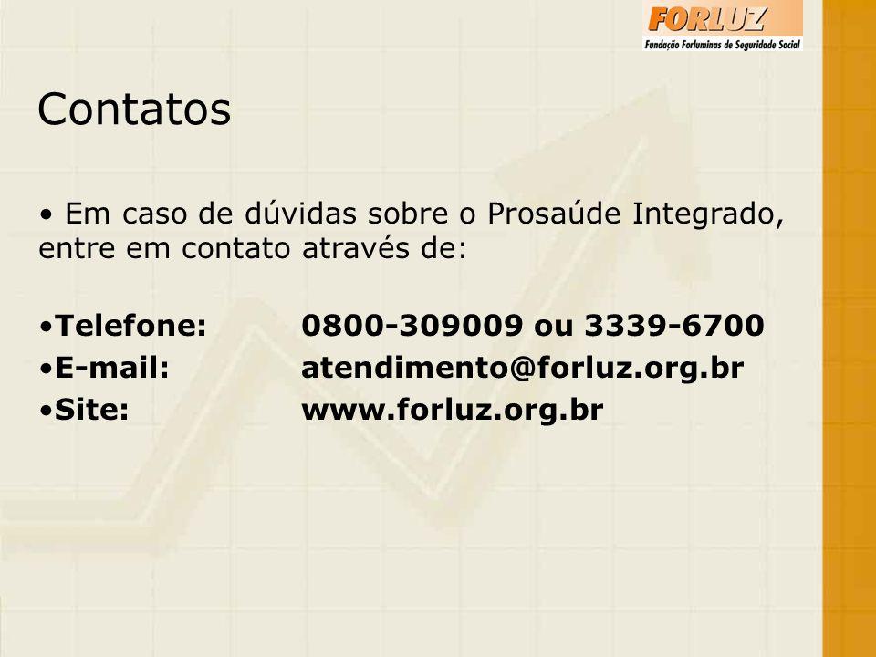 Contatos Em caso de dúvidas sobre o Prosaúde Integrado, entre em contato através de: Telefone:0800-309009 ou 3339-6700 E-mail:atendimento@forluz.org.b