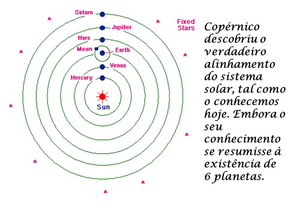 Copérnico descobriu o verdadeiro alinhamento do sistema solar, tal como o conhecemos hoje. Embora o seu conhecimento se resumisse à existência de 6 pl