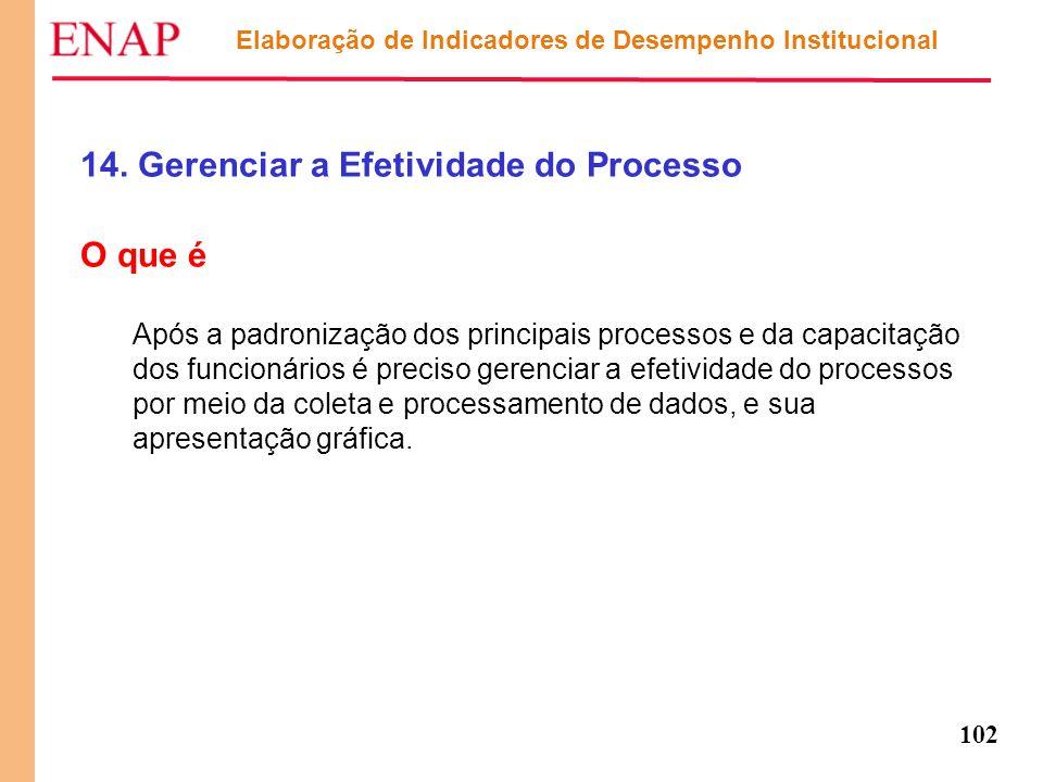 102 Elaboração de Indicadores de Desempenho Institucional 14. Gerenciar a Efetividade do Processo O que é Após a padronização dos principais processos