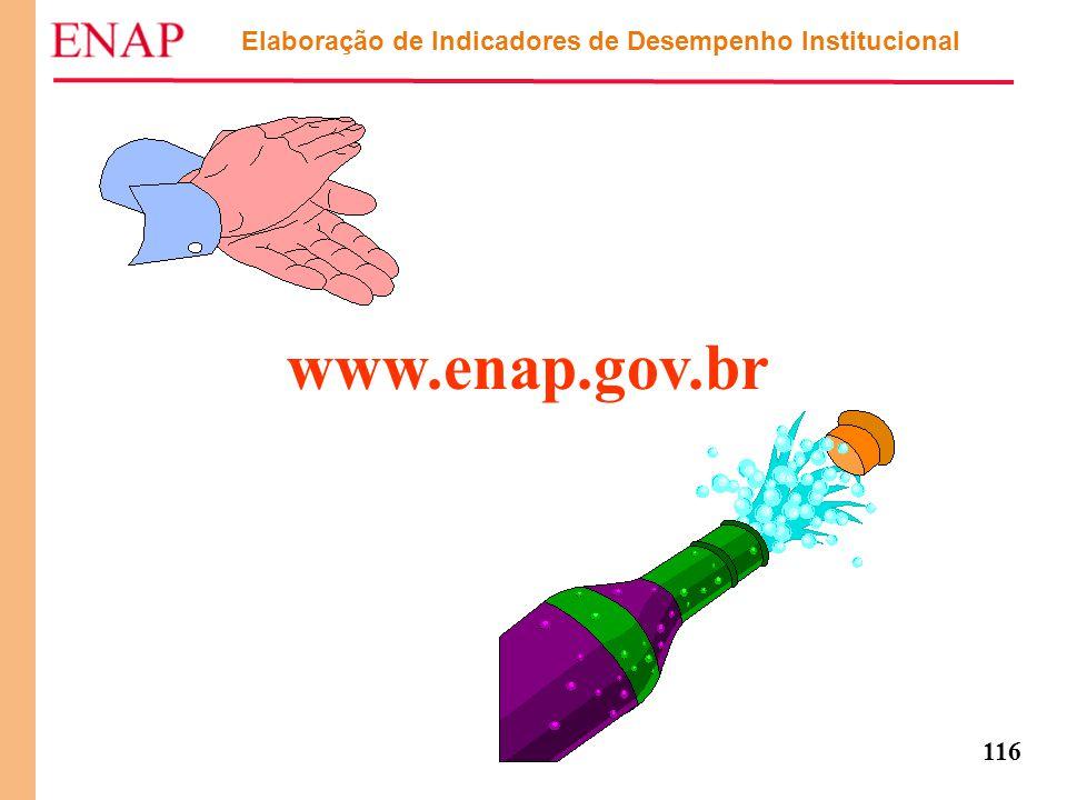 116 Elaboração de Indicadores de Desempenho Institucional www.enap.gov.br