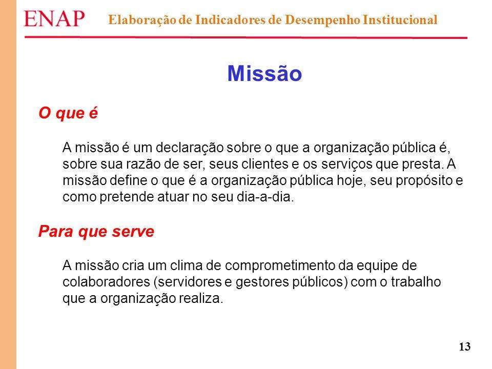 13 Missão O que é A missão é um declaração sobre o que a organização pública é, sobre sua razão de ser, seus clientes e os serviços que presta. A miss