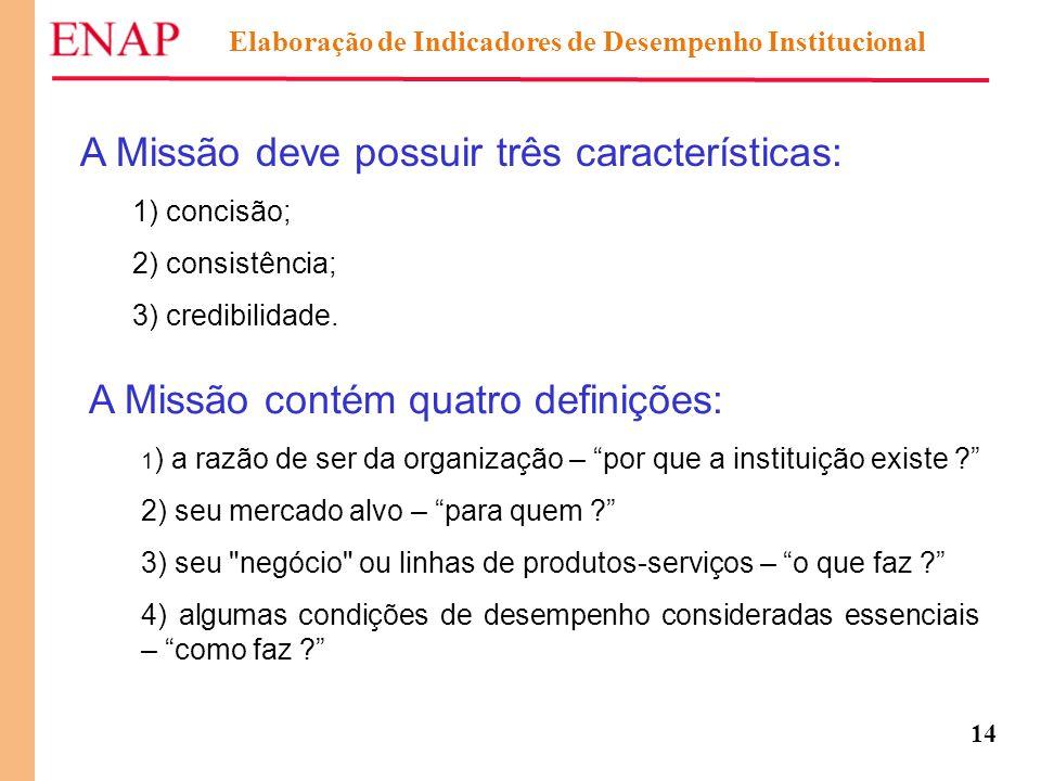 14 A Missão deve possuir três características: 1) concisão; 2) consistência; 3) credibilidade. A Missão contém quatro definições: 1 ) a razão de ser d
