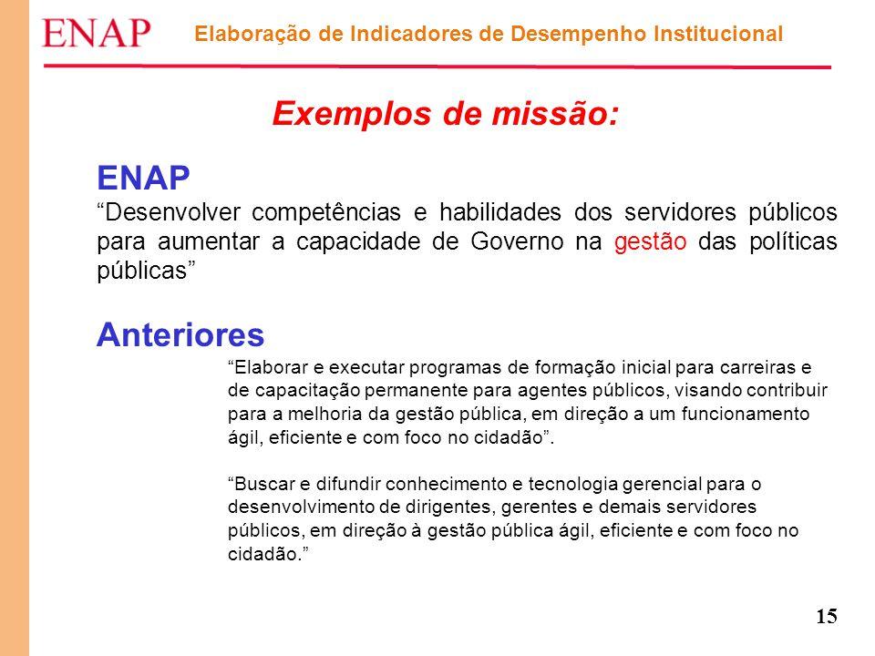 """15 Exemplos de missão: ENAP """"Desenvolver competências e habilidades dos servidores públicos para aumentar a capacidade de Governo na gestão das políti"""